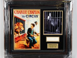 1928 The Circus - Charlie Chaplin Signed Cut 25x29 Display - JSA Full Letter