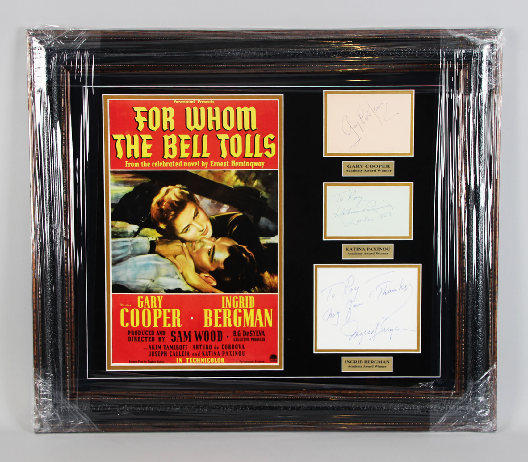 1943 For Whom the Bell Tolls Signed Cut 25x28.5 Display- Gary Cooper, Katina Paxinou & Ingrid Bergman - JSA Full LOA