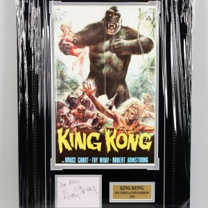 1933 King Kong - Fay Wray Signed Vintage Cut 17x27 Display - COA JSA
