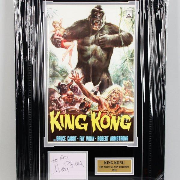 1933 King Kong - Fay Wray Signed Vintage Cut 17x27 Display - COA JSA