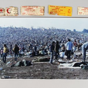 1969 Woodstock Original Panaromic Photograph & Original Tickets