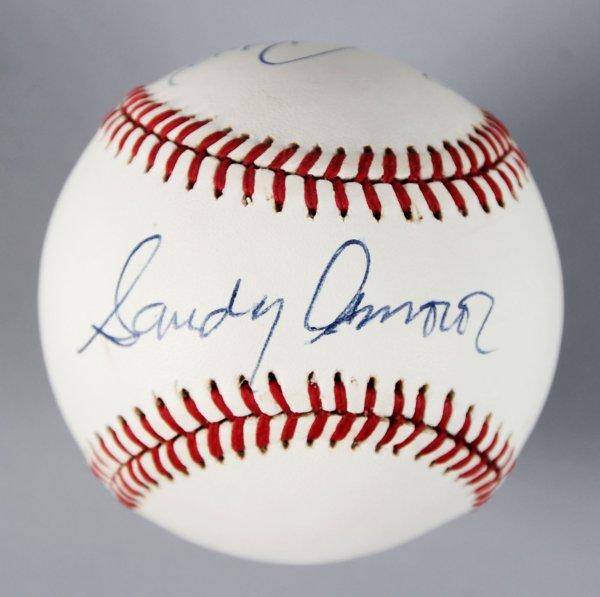 Dodgers - Sandy Amoros & Johnny Podres Signed, Inscribed Baseball - COA