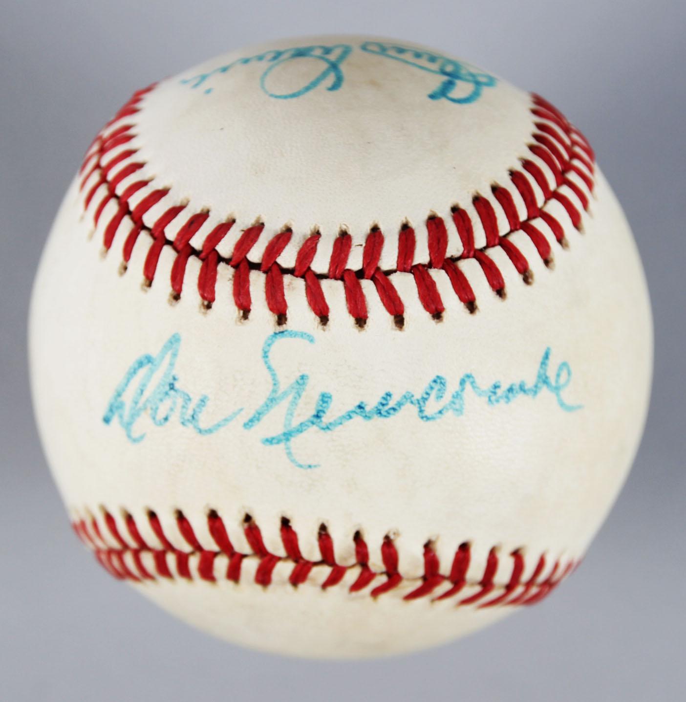 Brooklyn Dodgers Multi-Signed ONL Baseball - Newcombe, Branca & Labine - COA
