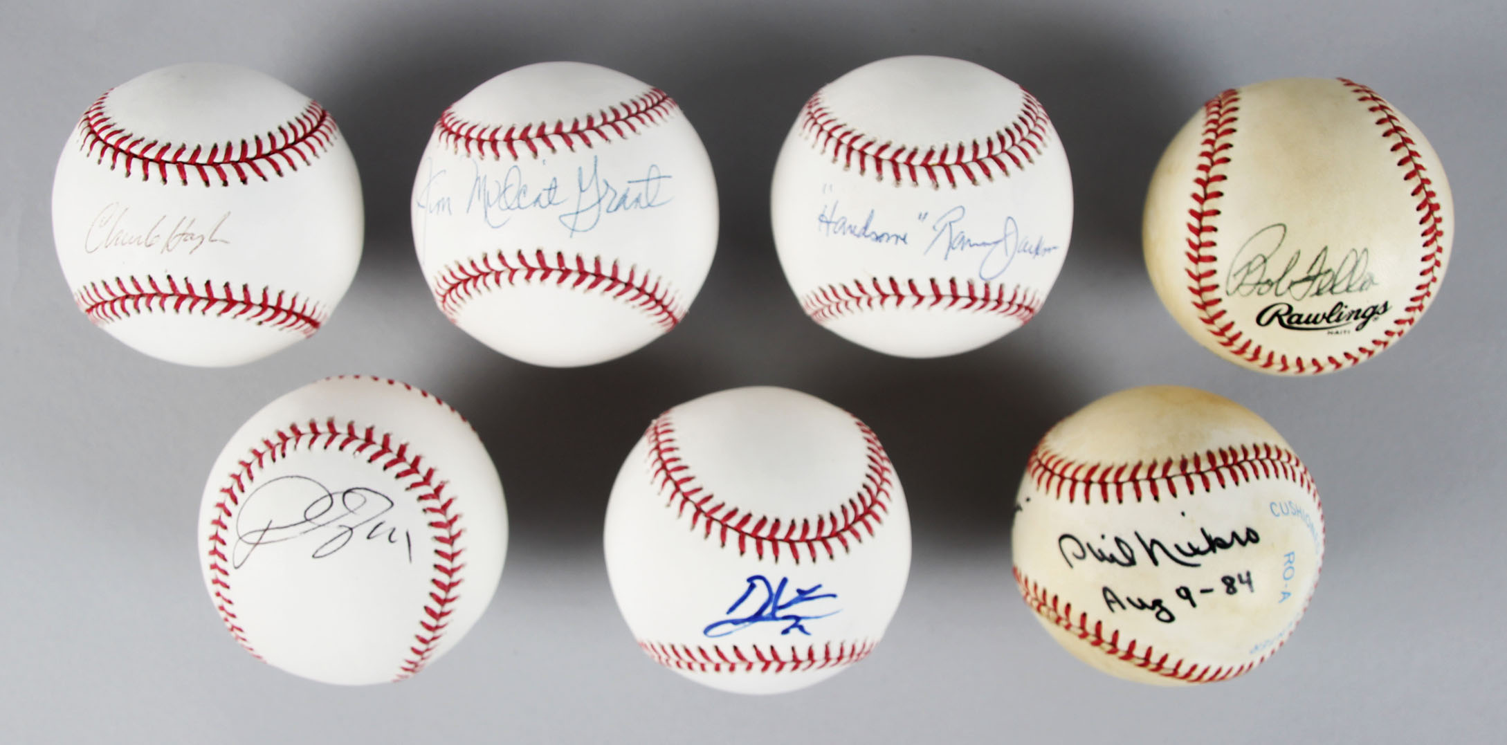"MLB All-Star's Single-Signed Baseballs (7) – Bob Feller, Phil Niekro,""Mudcat"" Grant etc.- JSA65445_01"