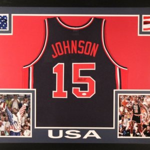 "Magic Johnson Signed USA ""Dream Team"" 35x43 Custom Framed Jersey (JSA COA)"