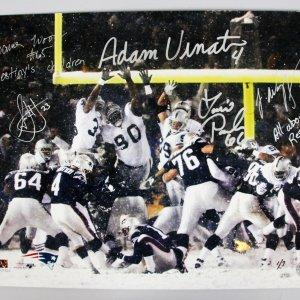 """2001 New England Patriots Team-Signed AFC Division """"Tuck Rule"""" Game 16x20 Photo 5 Sigs. Adam Vinatieri etc."""