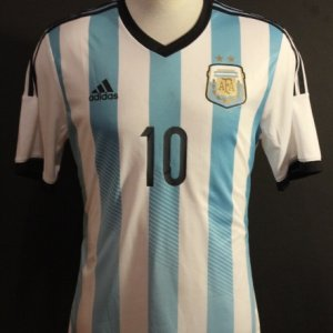 A Lionel Messi Game-Used #10 Argentina National Team Home Shirt.  FIFA International Friendly.