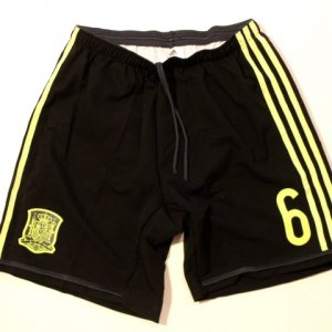 A Pair of Andres Iniesta Game-Used #6 Spain National Team Shorts.  2014 FIFA World Cup.