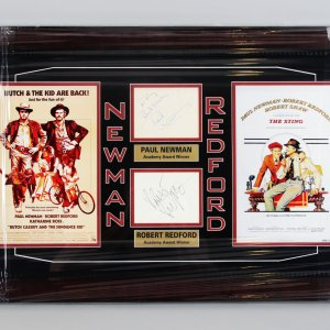 Butch Cassidy & The Sundance Kid - Robert Redford & Paul Newman Signed Cut 17x27 Display - JSA Full LOA