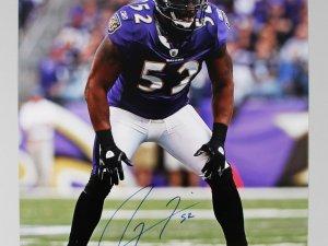 "Baltimore Ravens - Ray Lewis Signed & Inscribed ""52"" 16x20 Photo - COA GAI"