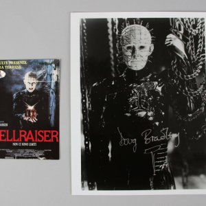Pinhead - Doug Bradley Signed, Inscribed 8x10 Photo & Post Card - COA