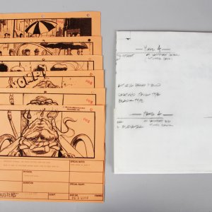 1984 Ghostbusters Lot - Scene Blueprint & (6) Scene Story Boards - COA