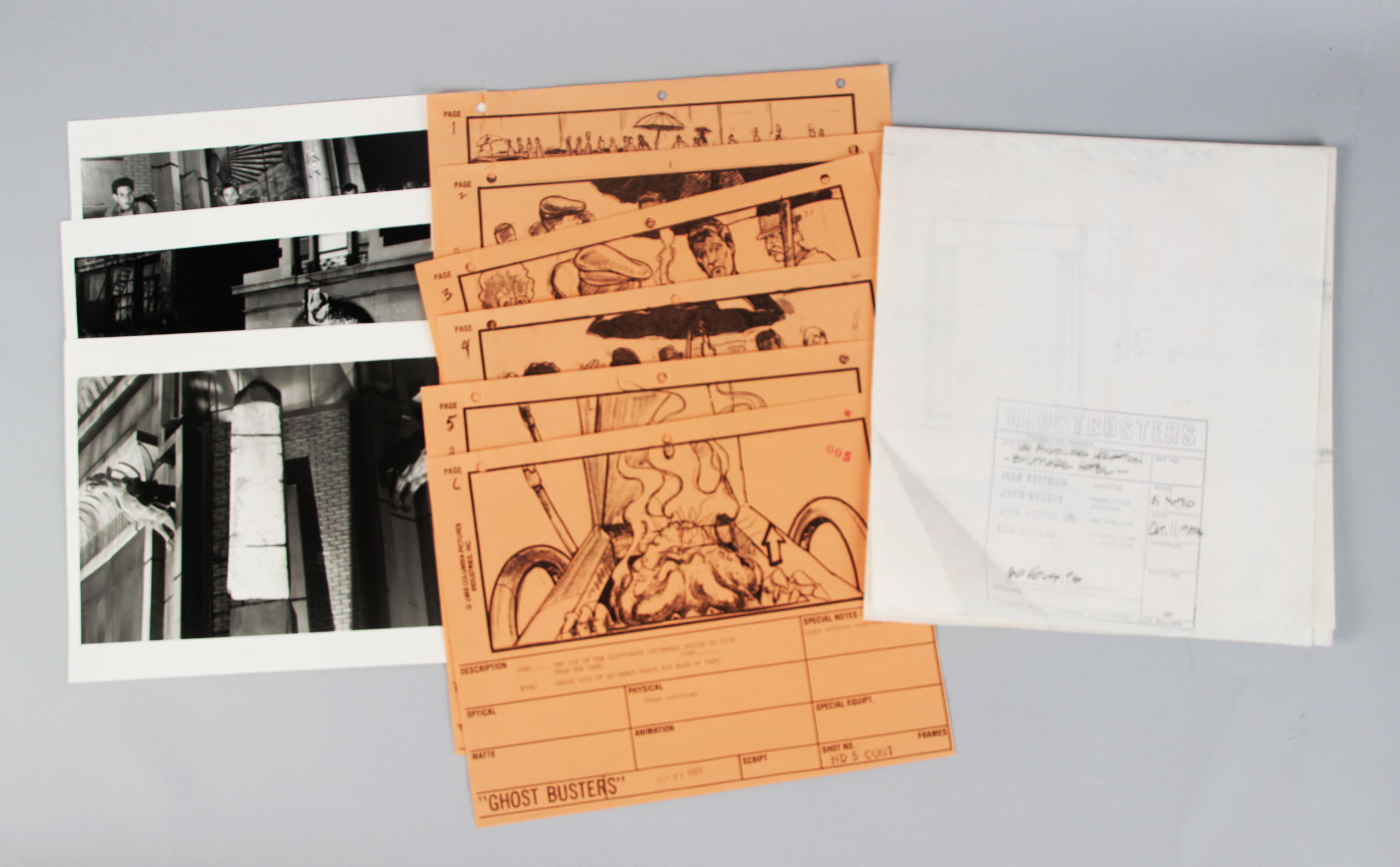 Ghostbusters Lot- Scene Blueprint, (3) Scene Photos & (6) Story Boards - COA
