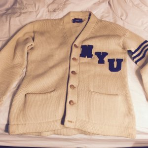 VINTAGE 1940 NEW YORK UNIVERSITY NYU SPALDING CARDIGAN LETTERMAN SWEATER