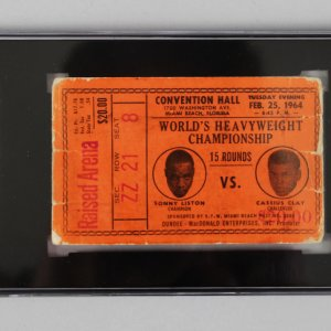 1964 SONNY LISTON VS. CASSIUS CLAY FIRST HEAVYWEIGHT CHAMPIONSHIP FIGHT TICKET STUB - SGC