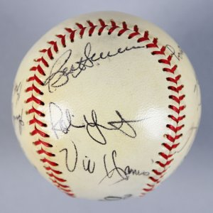 1980 Milwaukee Brewers  Signed Baseball - 13 Sigs.- Robin Yount, Vic Harris- COA