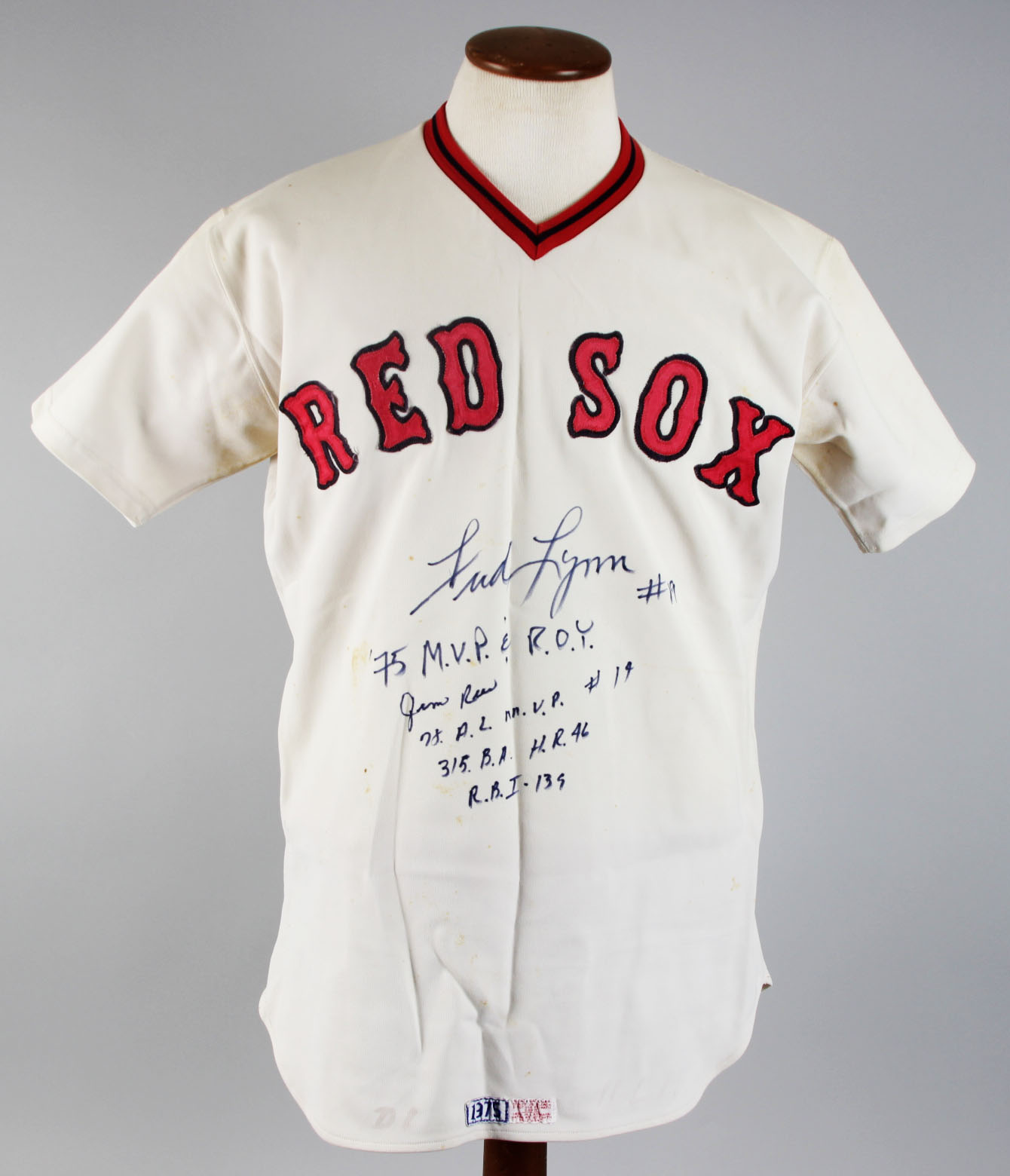 1975 Boston Red Sox – Bob Montgomery Game-Worn Jersey Signed   Inscribed by  Fred Lynn   Jim Rice- JSA 1a88f05f831