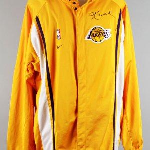 2000-01 Los Angeles Lakers - Kobe Bryant Game-Worn, Signed Warm-Up Shooting Jacket - JSA Full LOA