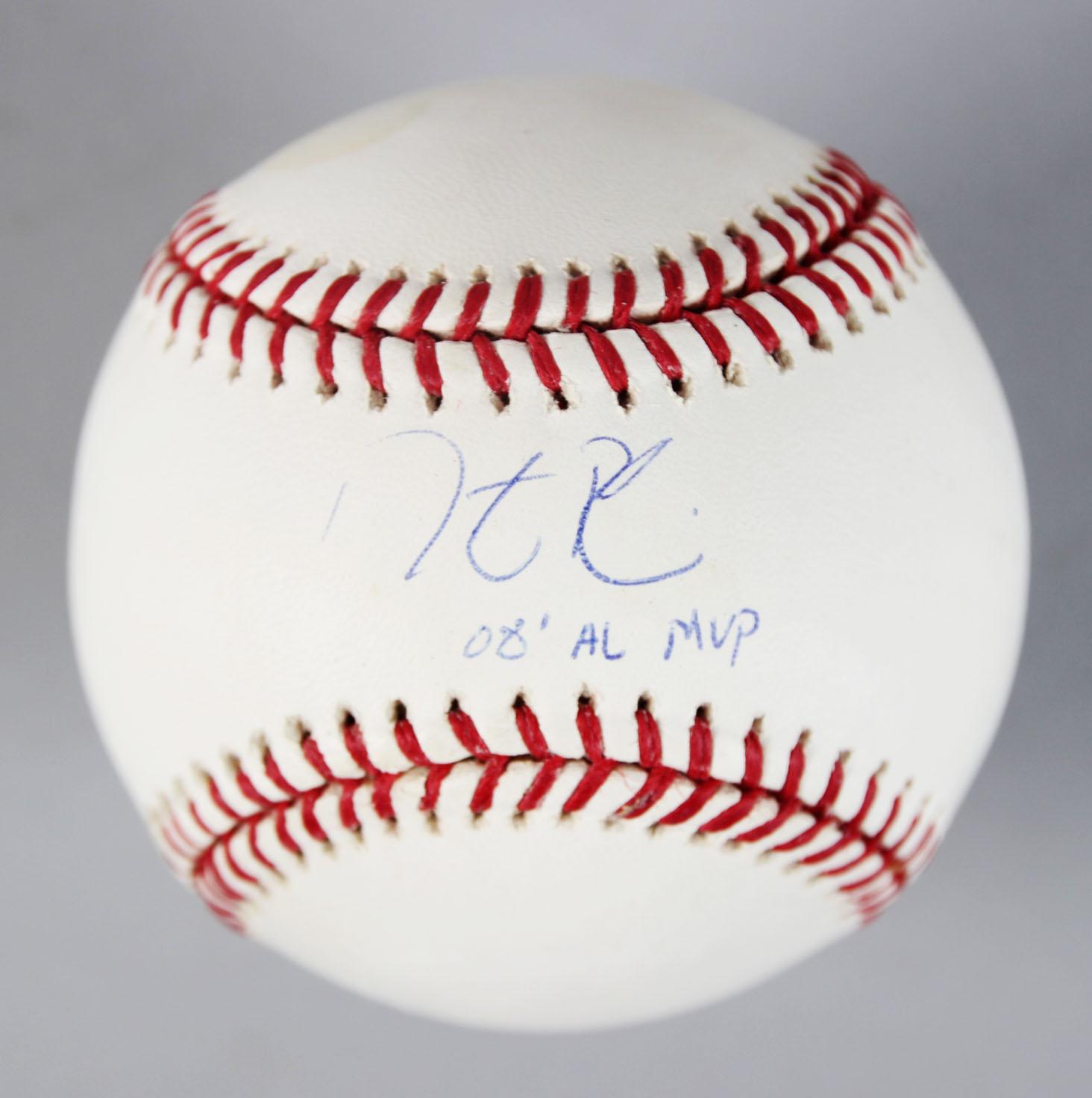c715e5756 Red Sox- Dustin Pedroia Signed   Inscribed OML Baseball – COA Steiner   MLB