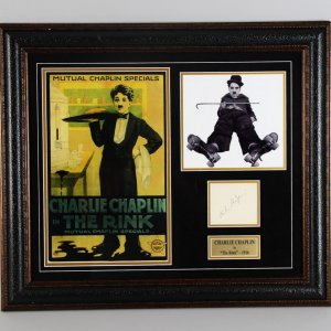 "1916 ""The Rink"" - Charlie Chaplin Signed Cut 25×29 Display – JSA Full LOA"