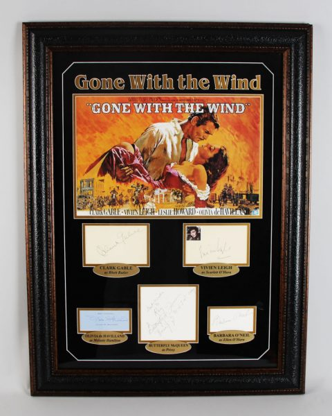 Gone With The Wind Cast Signed Poster Display (Vintage Album Pages) - JSA Full LOA