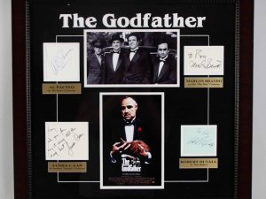 """The Godfather"" Signed Cast Album Page Display Poster COA JSA Brando"
