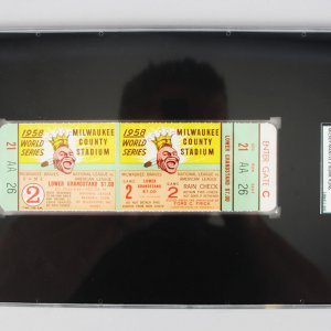 1958 World Series Game 2 Full Ticket-Mantle WS HR #10 - #11- (SGC) Auth