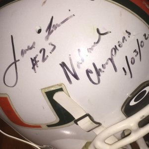 2002 Miami Hurricanes - James Lewis Game-Worn, Signed National Championship Helmet
