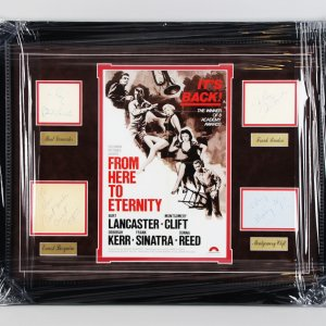 From Here to Eternity - Burt Lancaster, Montgomery Clift, Frank Sinatra, Ernest Borgnine Signed Cut 23x29 Display - JSA Full LOA