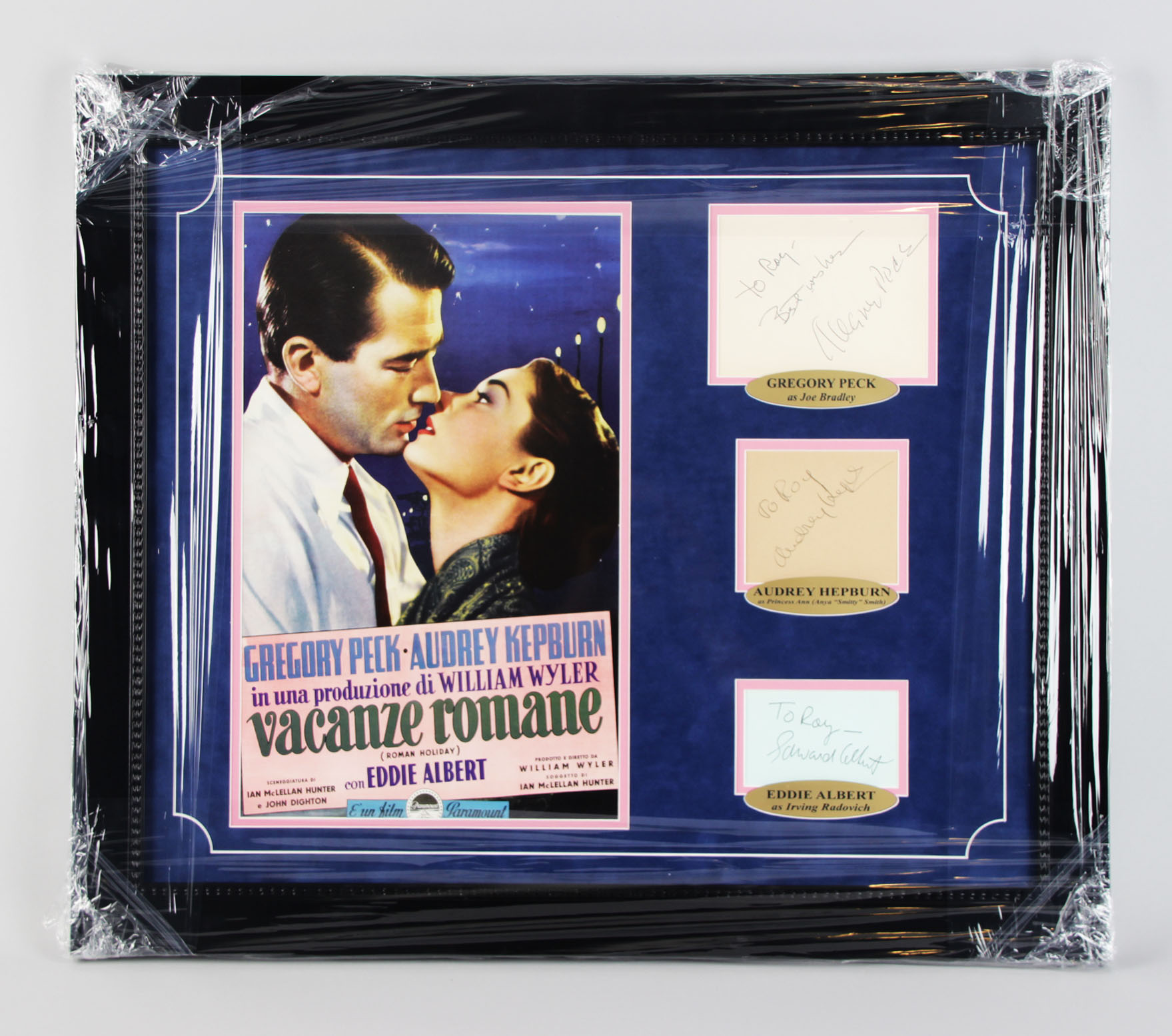Roman Holiday – Gregory Peck, Audrey Hepburn, Eddie Albert Signed Cut 23×27 Display – JSA Full LOA