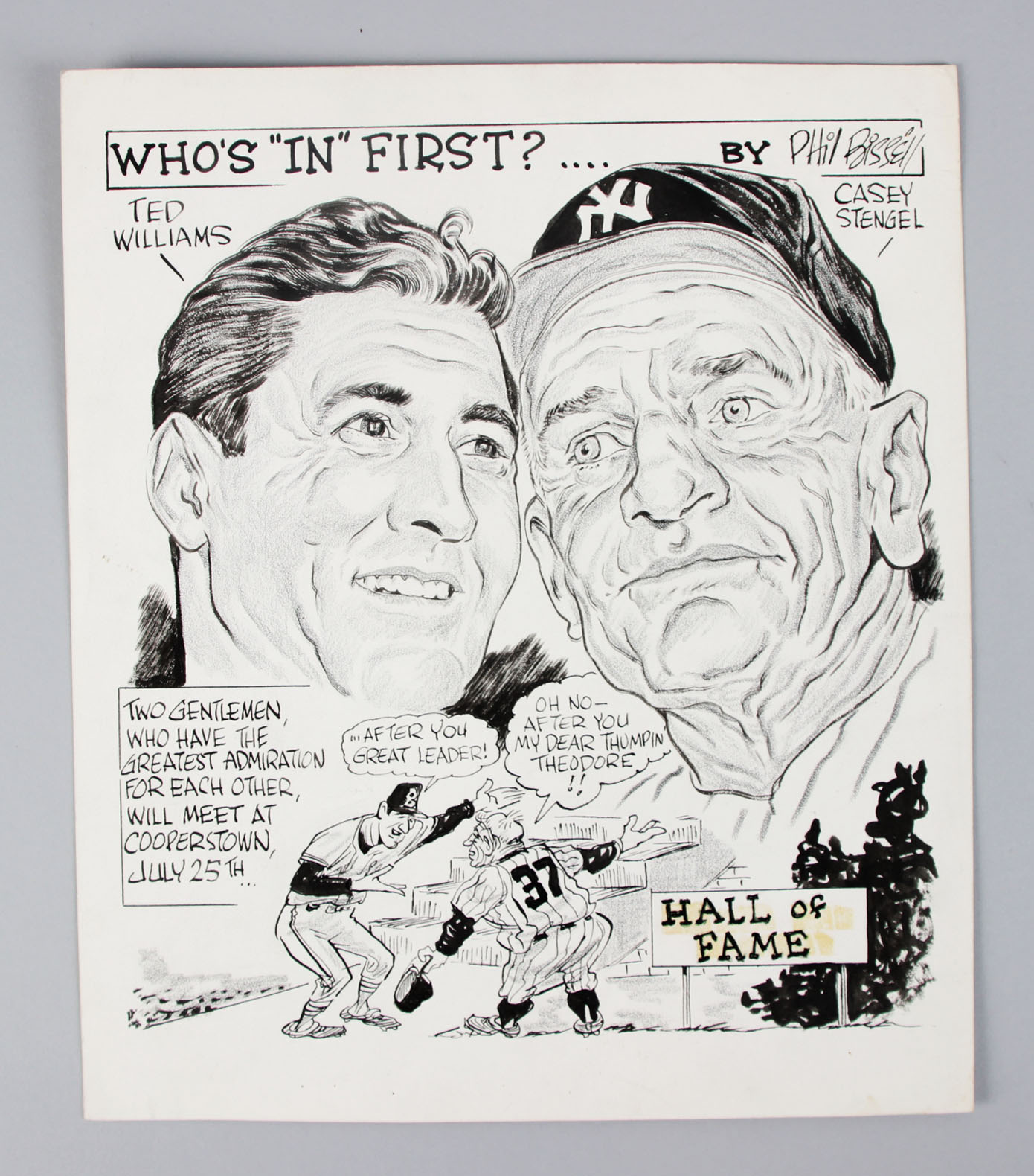 """1965 Original Cartoon by PHIL BISSELL Who's """"In"""" First? Williams & Stengel"""