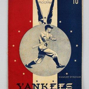 1943 War Time Baseball Official Score Card Program Cloudbusters Vs. Yankeelands w/Ruth, Williams