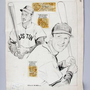 1946 WS Red Sox vs. Cardinals Willard Mullin Original Sporting News Art - Baseball