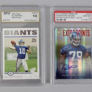 NY Giants - Eli Manning & Damontre Moore Graded Rookie Cards - PSA & MINT 10