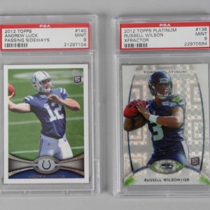 2012 QB's - Russell Wilson & Andrew Luck Graded Rookie Cards - PSA MINT 9