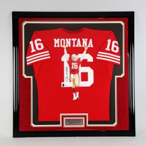 San Francisco 49ers Joe Montana Signed Hand Painted William Zavala Jersey Display COA PSA