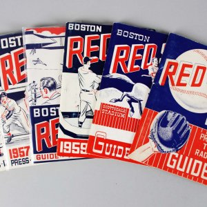 1956-61 Boston Red Sox Press, TV, Radio Guide Lot (6)