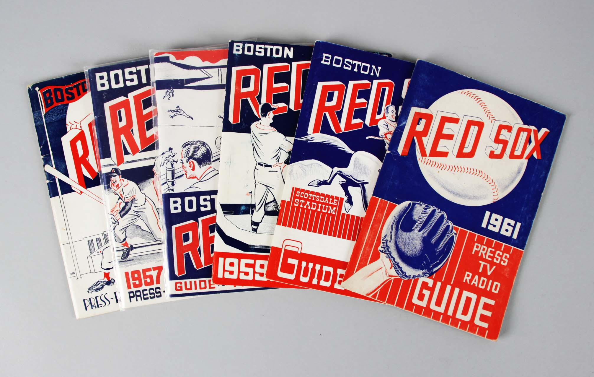 1956-1961 Boston Red Sox Press, TV, Radio Guide Lot (6)