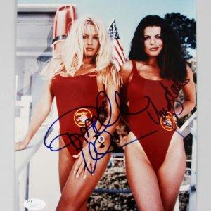 Pamela Anderson & Jasmine Bleeth Signed Baywatch 8x10 COA JSA