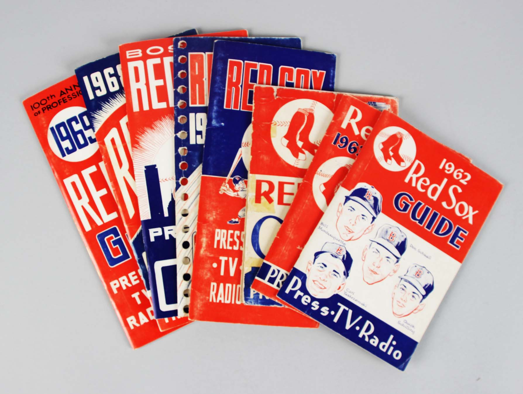 1962-1969 Boston Red Sox Press, TV, Radio Guide Lot (8)