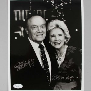 Bob & Dolores Hope Signed 8x10 B/W Photo - COA JSA