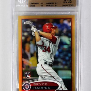 2012 Topps Chrome - Nationals - Bryce Harper Gold Refractor 11/50 Rookie Baseball Card (#196 - Graded BGS 9.5)