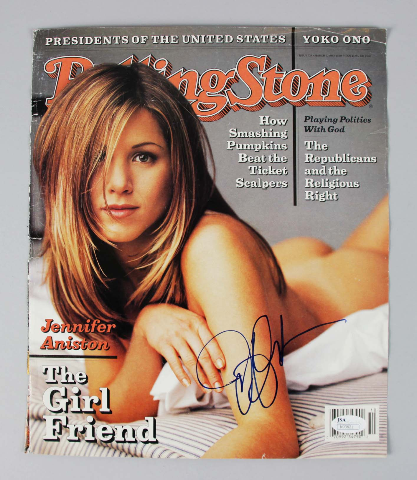 Jennifer Aniston Signed Rolling Stones Magazine Cover