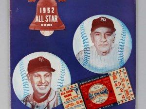 Original 1952 MLB All Star Ticket Stub & Program Mantle & Satchel Paige 1st All Star Game