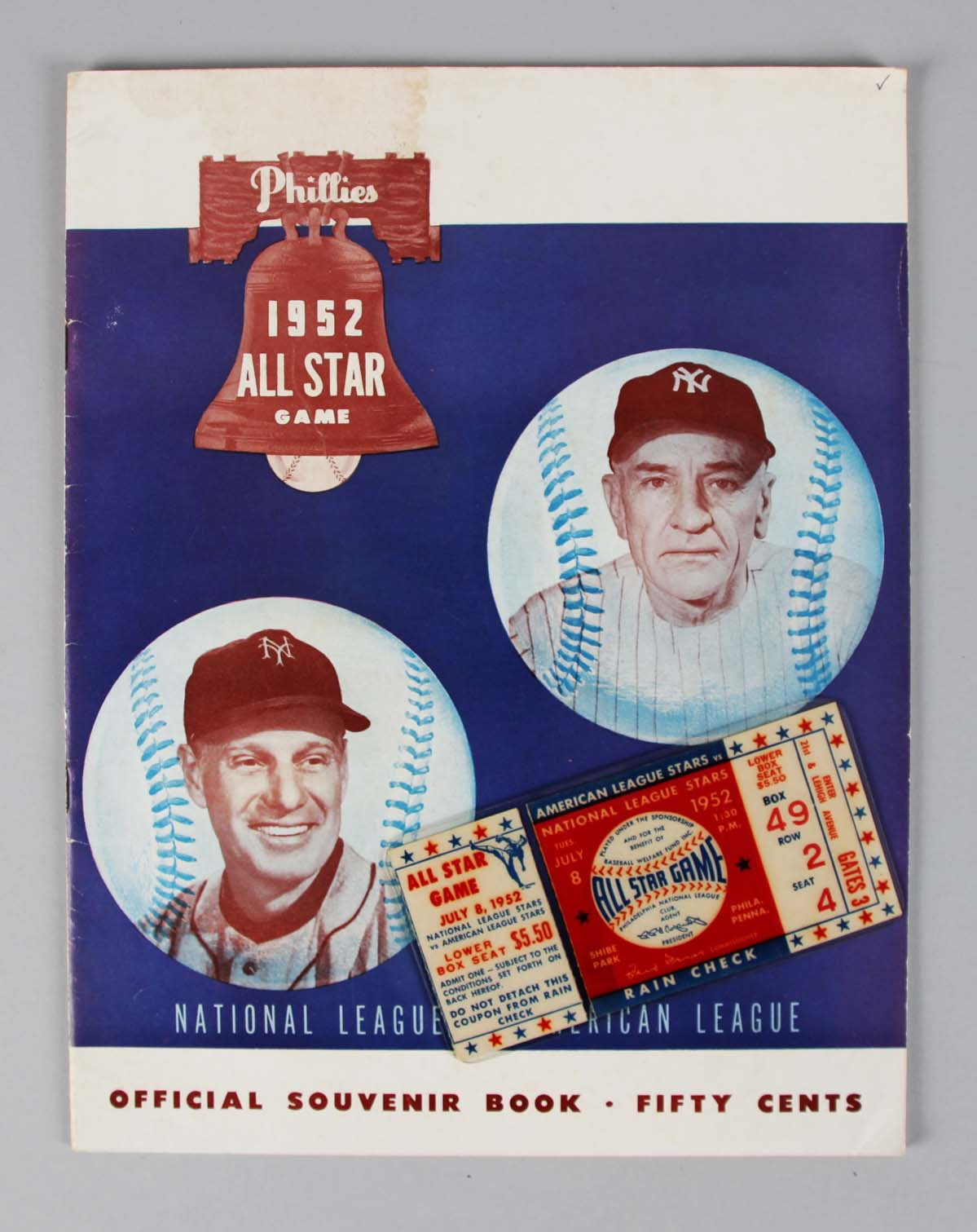 Original 1952 MLB All Star Ticket Stub & Program Mantle & Satchel Paige 1st All Star Game