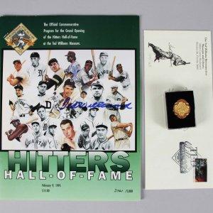1995 Ted Williams Museum Hitters HOF Program Signed w/ Pin & Envelope - COA