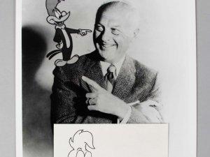 Animator - Walter Lantz Signed & Inscribed 3x5 Index Card w/ Photo - COA JSA