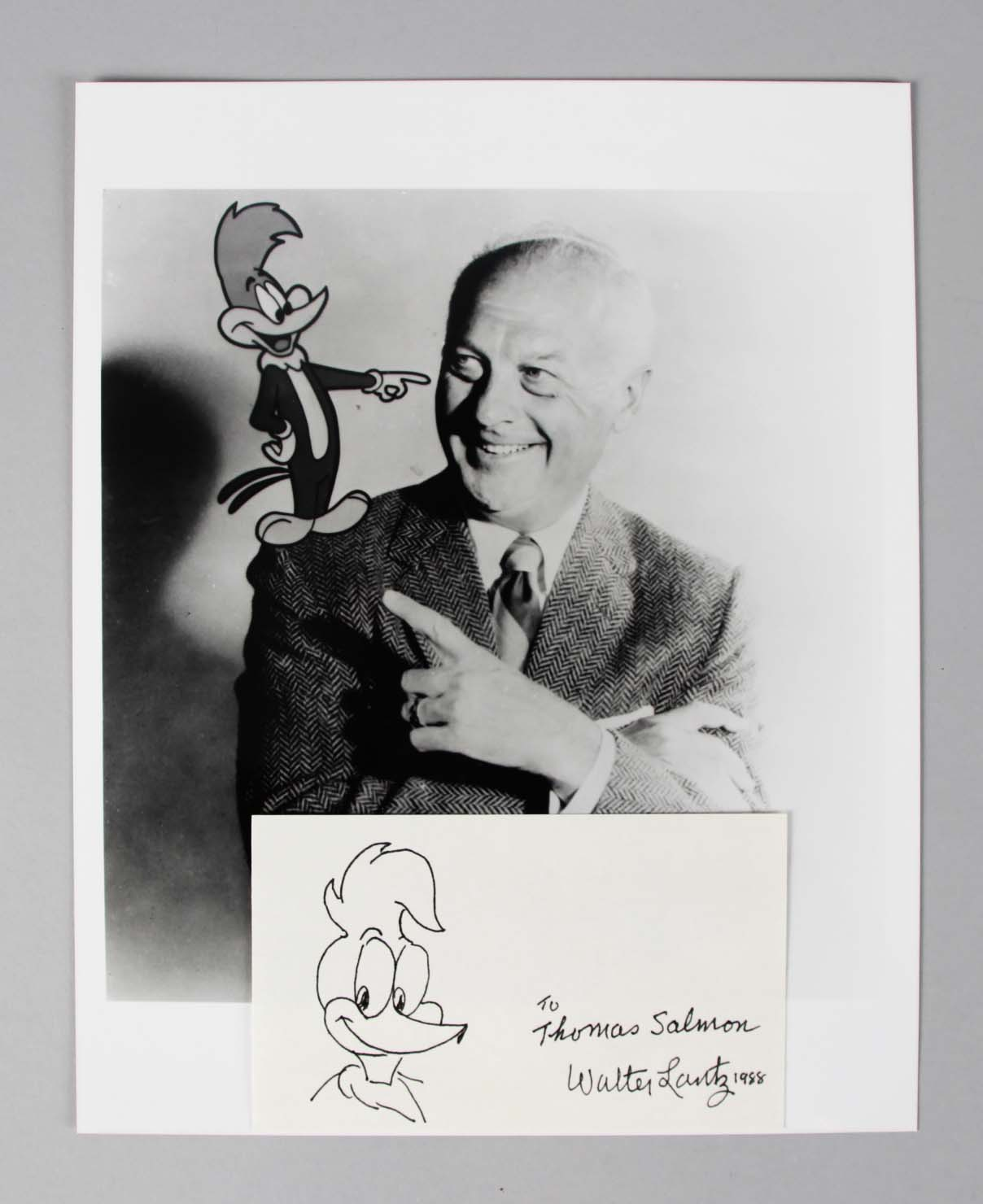 Walter Lantz Signed Index Card w/ Photo - COA JSA