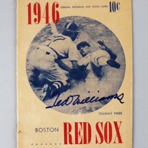 1946 Boston Red Sox - Ted Williams Signed Program & Score Card - Williams COA