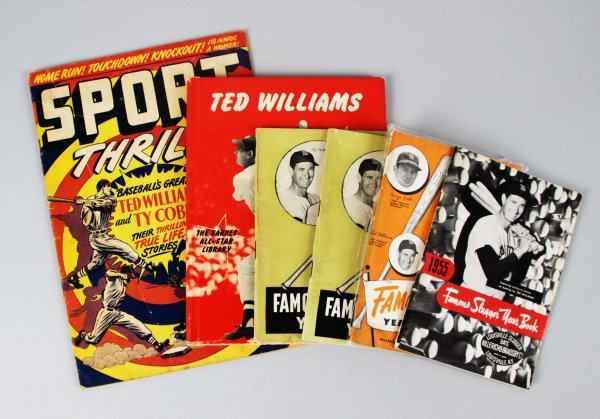 Red Sox Ted Williams Lot - Book, Comic Book & (4) Year Books